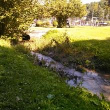 Úprava koryta potoku, detský tábor Tesáre